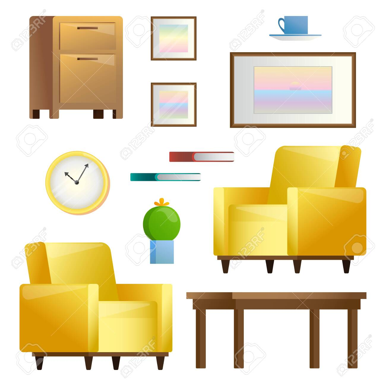 Set of different interior elements. Living room. Vector illustration in flat style. - 124150816