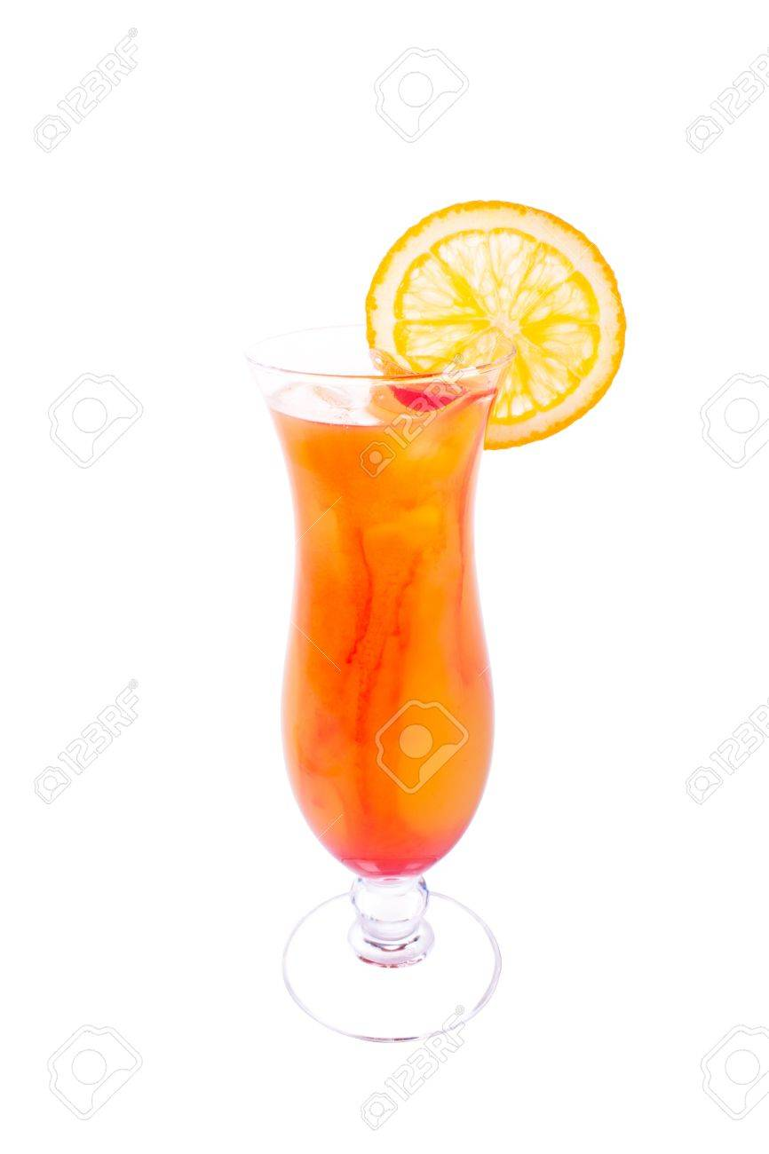 Tequila with orange and ice on a white background. Orange cocktail. Stock Photo - 9556059