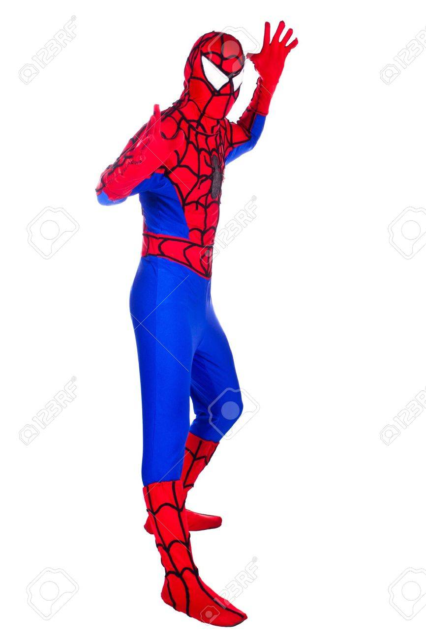 A man dressed as Spiderman. Clown Artist. Stock Photo - 10067877