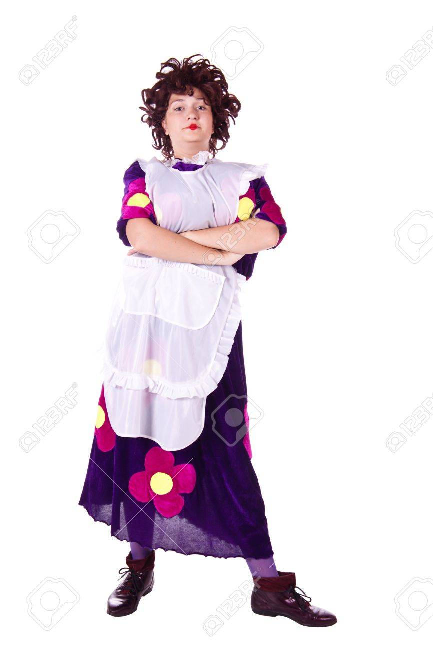 White apron costume - Evil Woman In A Maid Costume With A White Apron White Background Studio Photography
