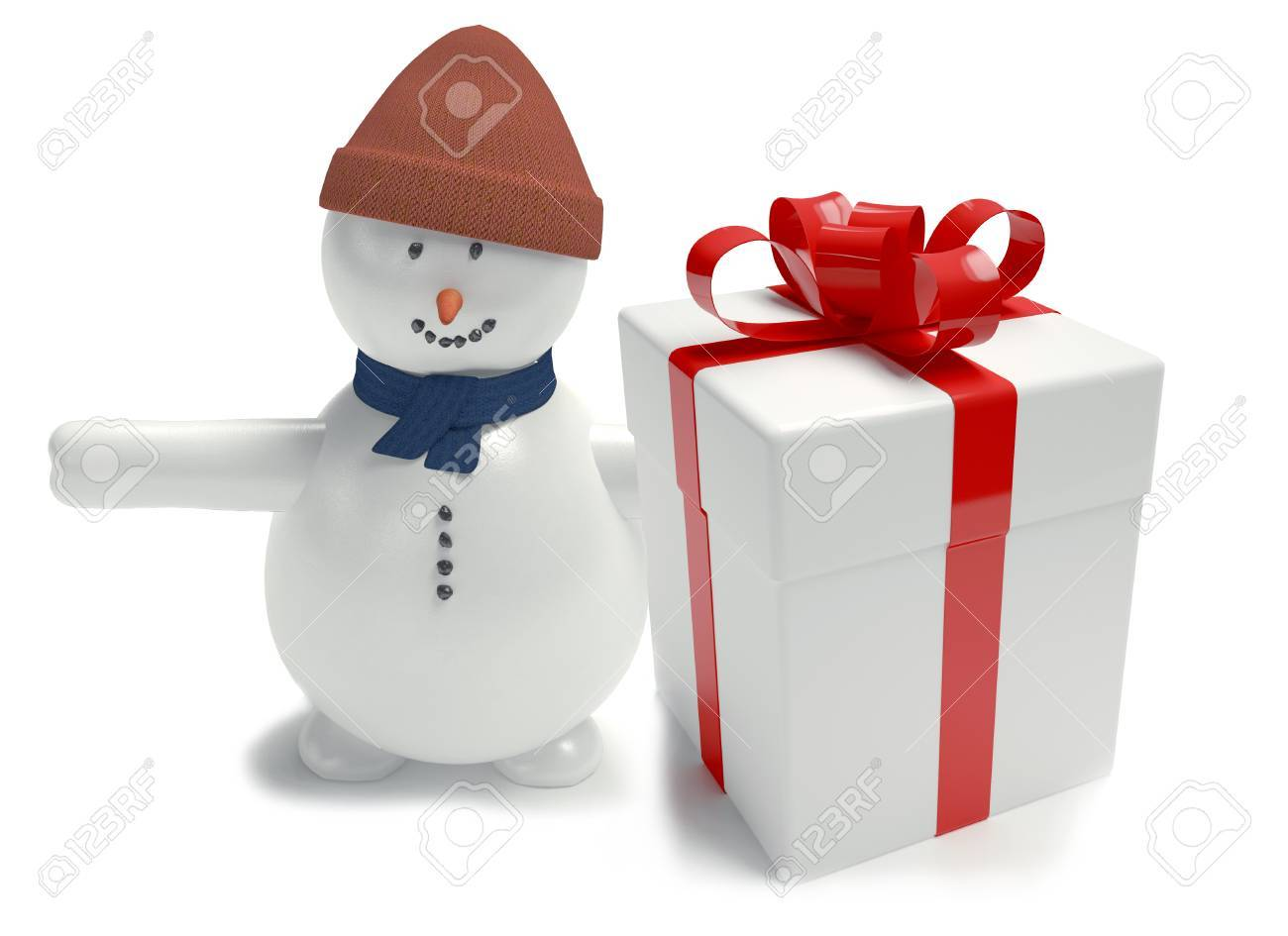 Snowman Gift Box White Tied With A Ribbon