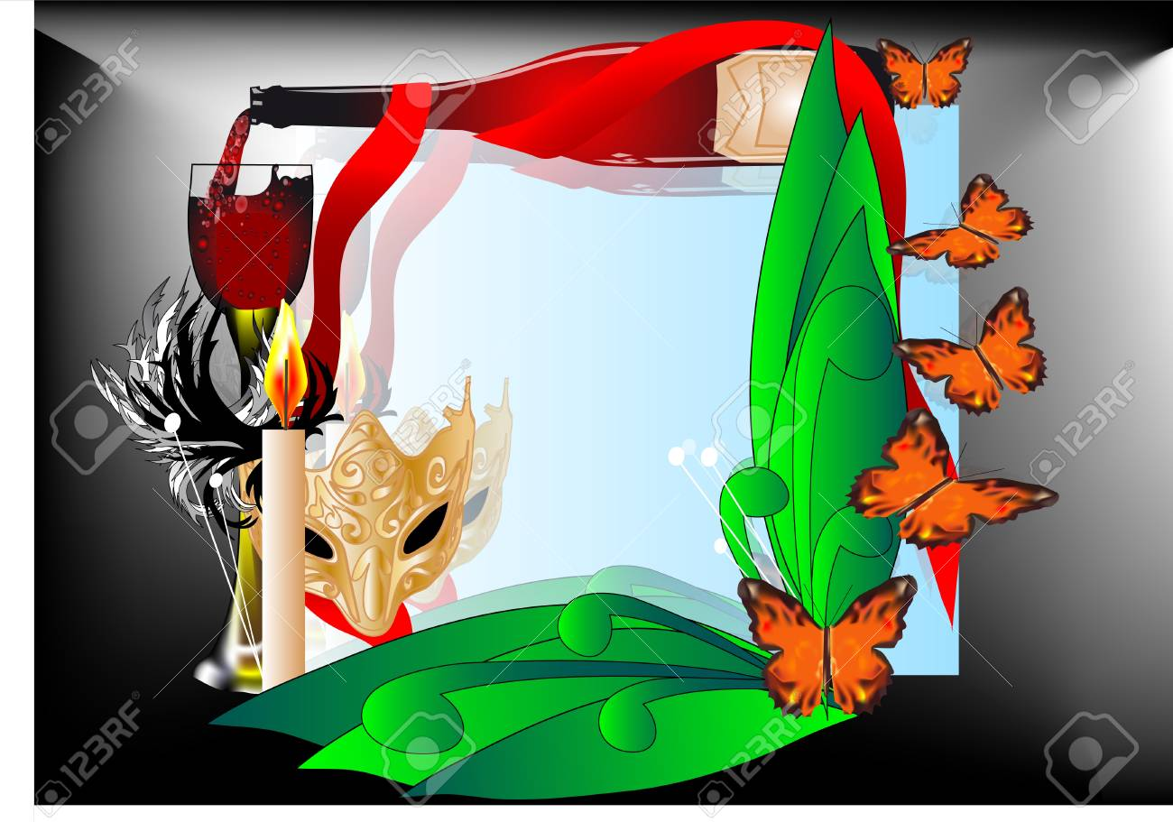 frame with wine, mask, glass and butterflies Stock Vector - 13513026