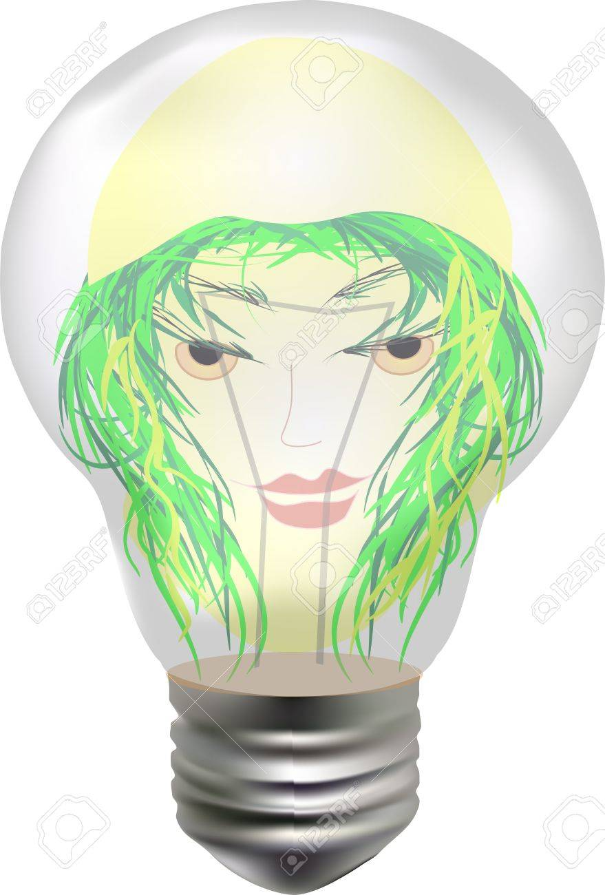 enjoyable female face with hair in the form of branches in the bulb Stock Vector - 13621121