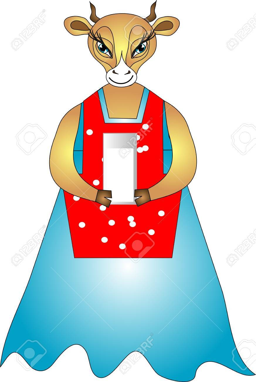 cute cow in a blue dress gives milk Stock Vector - 14323683