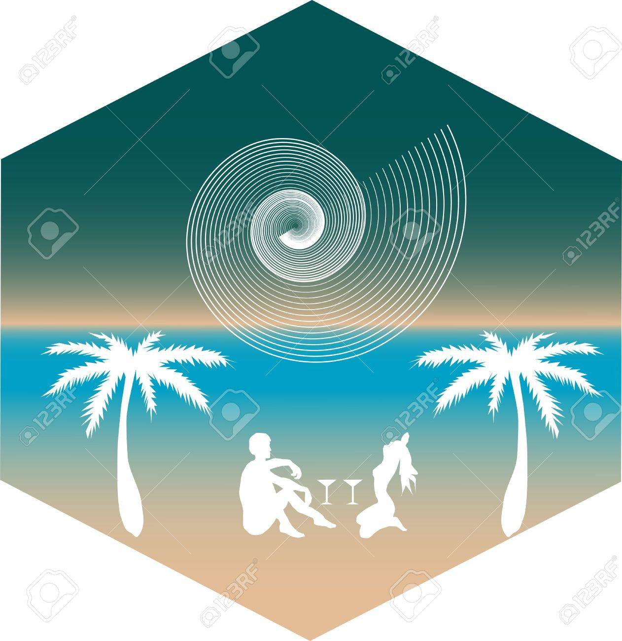 silhouette of a man and a woman on the beach under palm trees on the background of the shell Stock Vector - 14459041