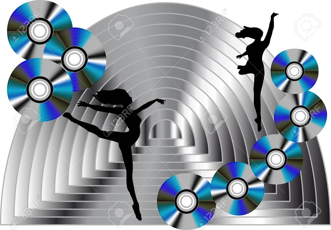 abstract background with disks and dancing woman Stock Vector - 14459044