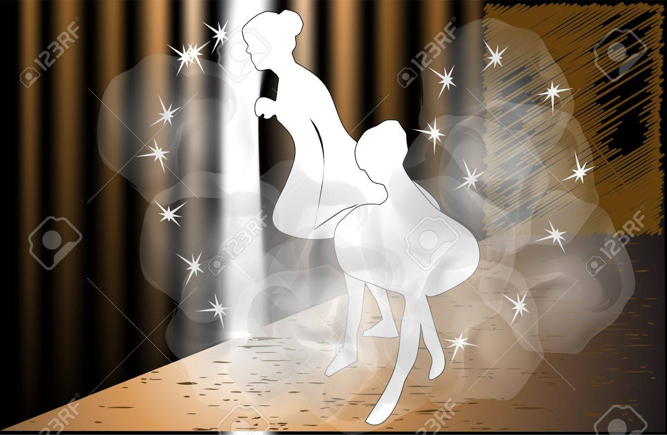 two ballet dancers before entering the stage Stock Vector - 14689560