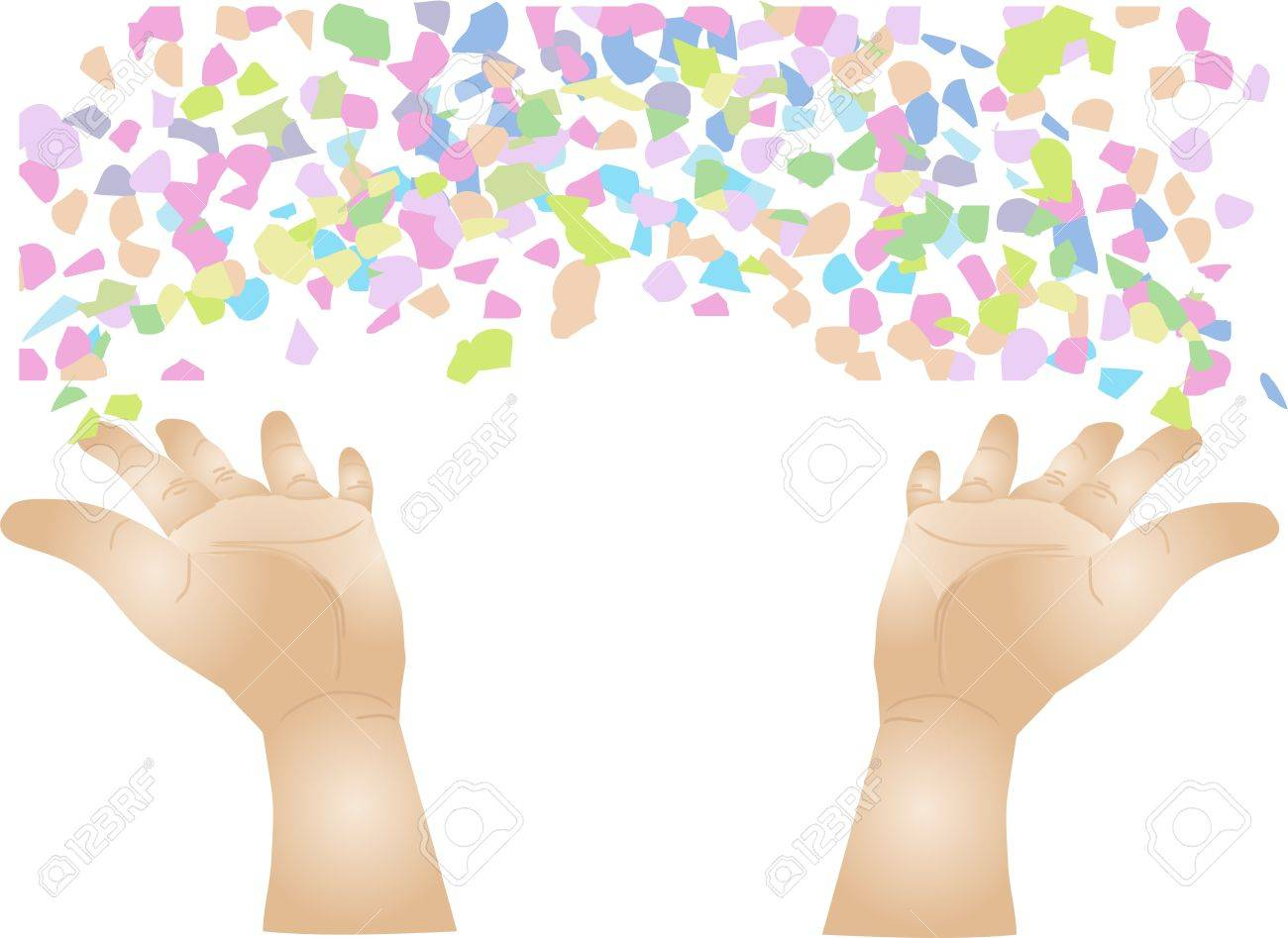 human hand throwing colored confetti  isolated on a white background Stock Vector - 14781827