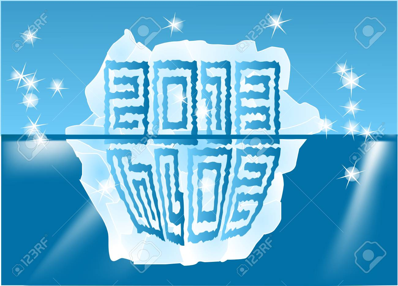 New Year sign on an iceberg 2013-2014 Stock Vector - 15026564