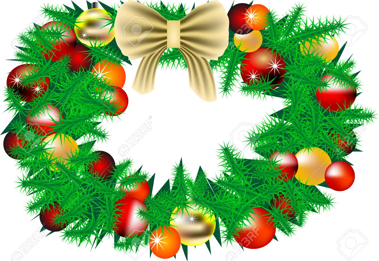 Christmas decorations with New Year tree isolated on white Stock Vector - 15914914