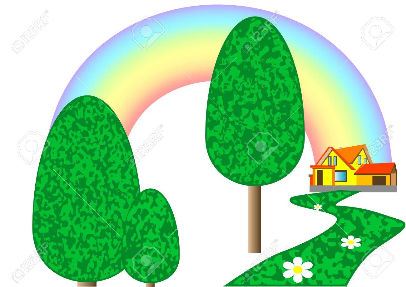 house on the lawn with rainbow isolated on white Stock Vector - 16450496