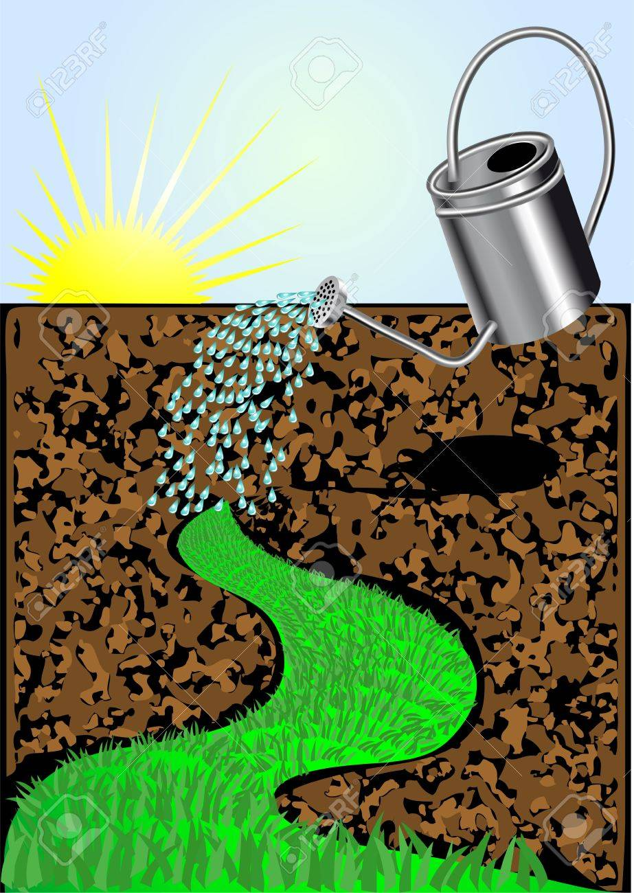 watering can with land, water drops, grass Stock Vector - 16761430