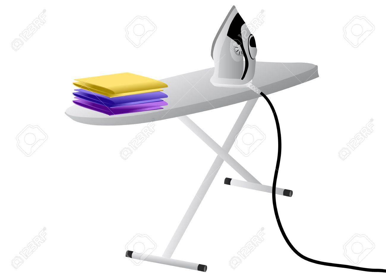 iron and ironing board isolated on white Stock Vector - 17530966
