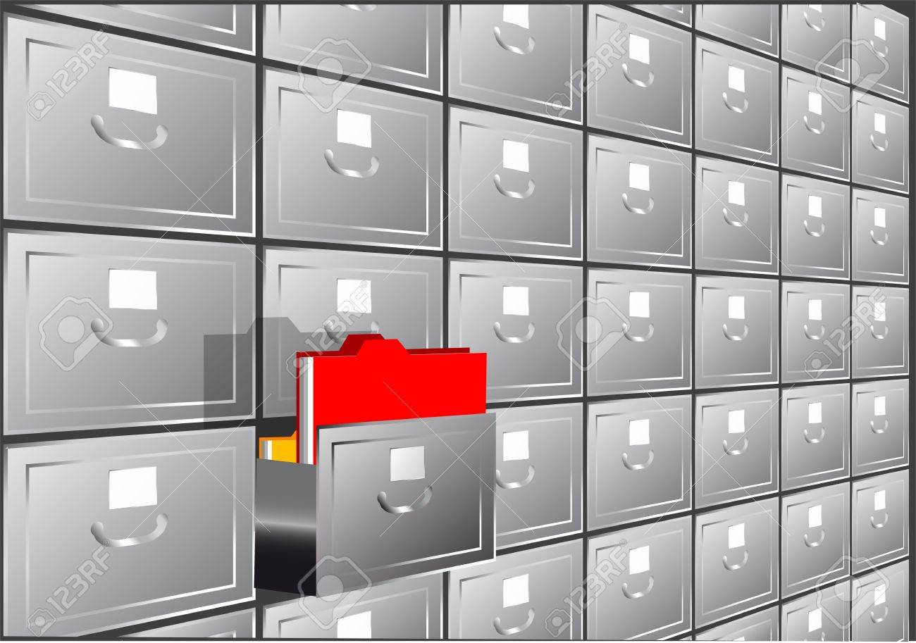 Folder Search File Cabinet With Half-open Drawers Containing ...