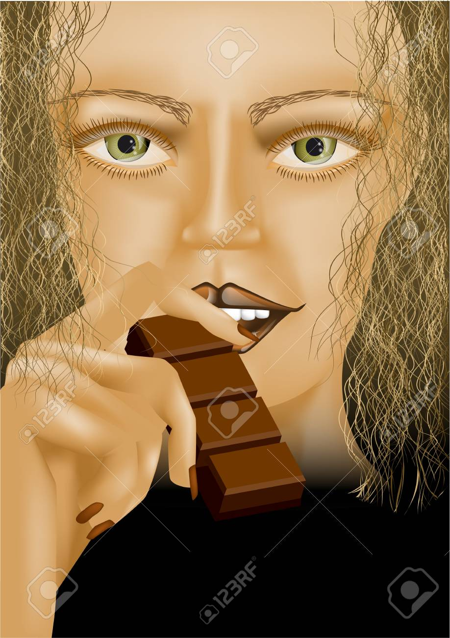 model eating chocolate Stock Vector - 24901309
