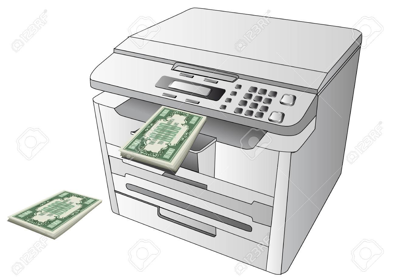 printing money printer and abstract money on white background