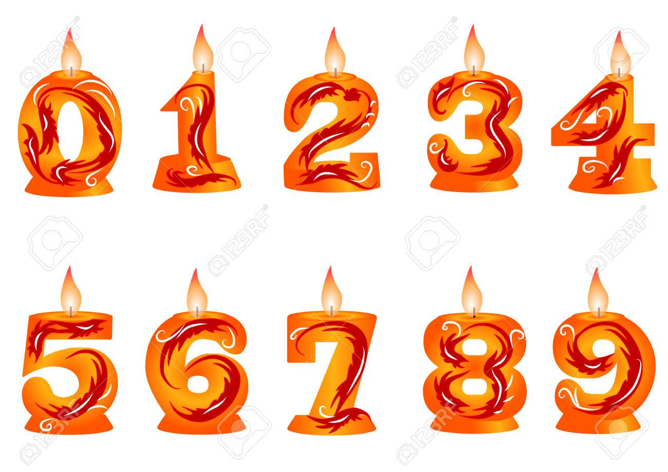 birthday candle as numbers isolated on a white background Stock Vector - 29196863