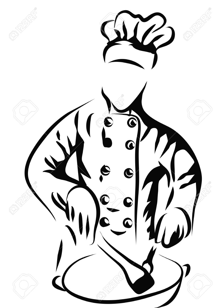 Chef Cooking In Kitchen. Silhouette Isolated On White Royalty Free ...