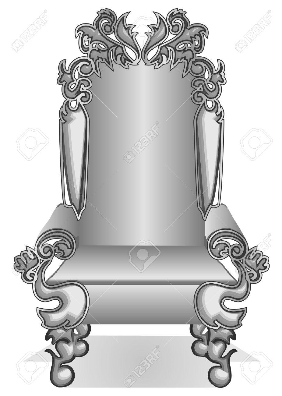 Extrêmement Trône Roi. Roi De Bande Dessinée Trône Isolé Sur Blanc Clip Art  KG15