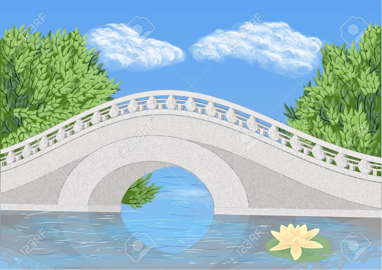 Brücke Garten Brücke Auf Fluss Und Wasser Blume Lizenzfrei Nutzbare