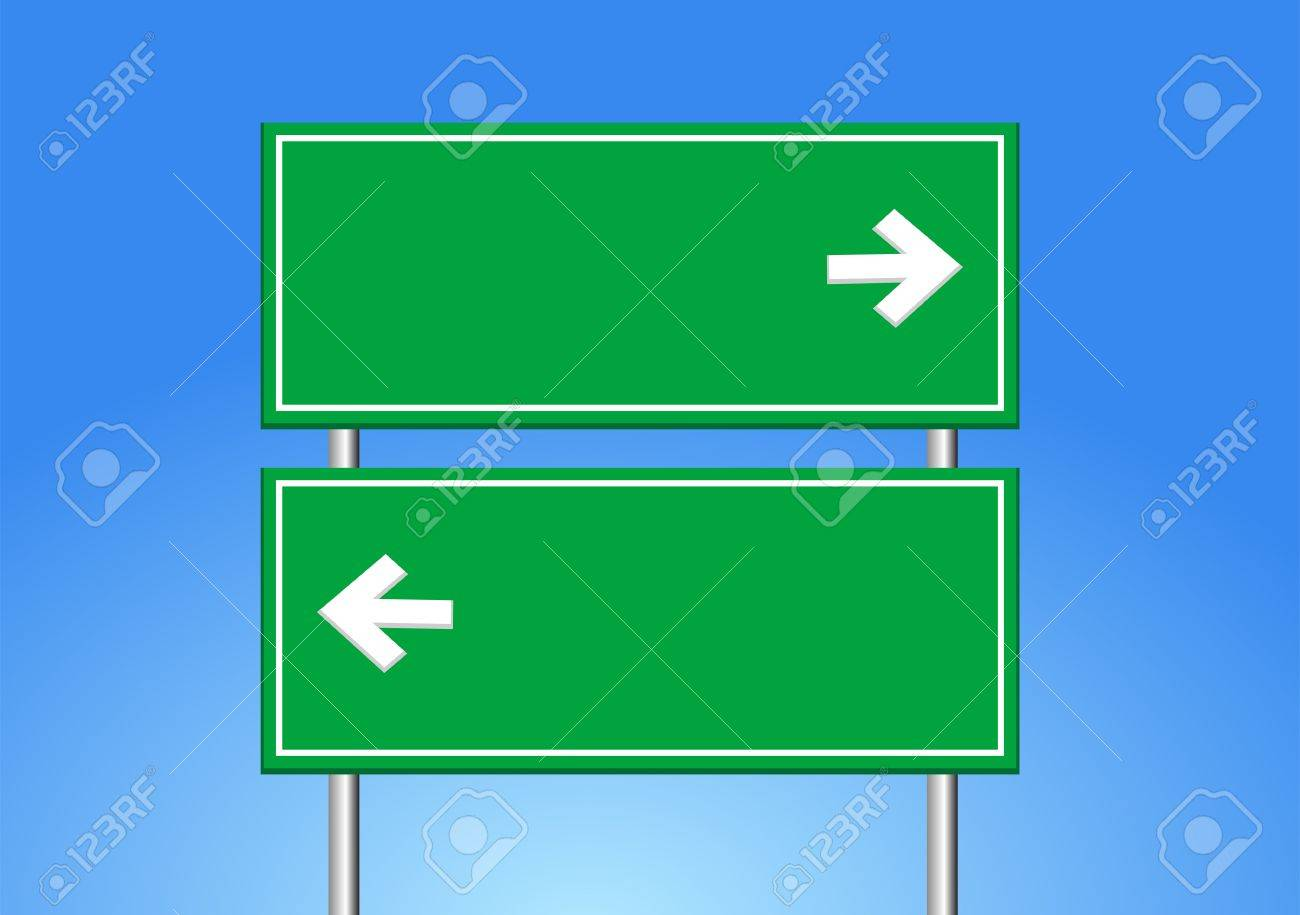 road sign and blue sky. - 53616640