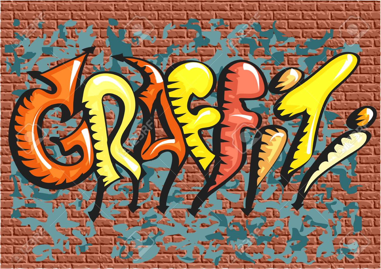 Graffiti Abstract Multicolor Text On Brick Wall Stock Vector