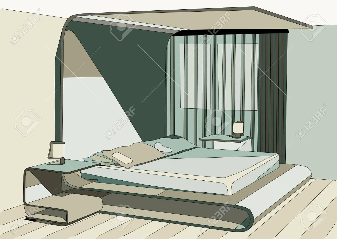 green bedroom abstract interior design. - 61660018