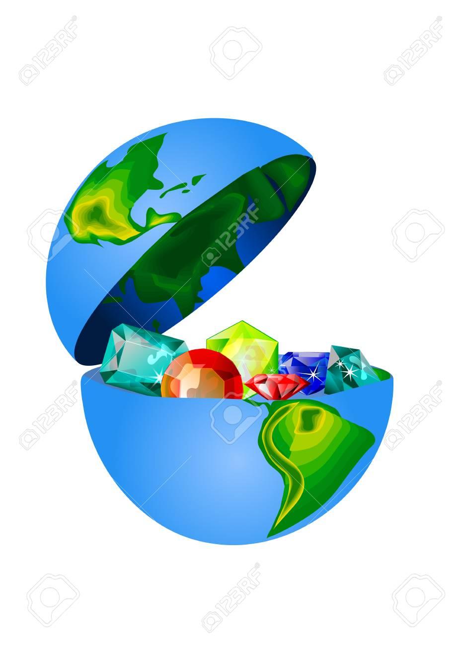 treasures of earth. precious stones in the open globe - 125400172
