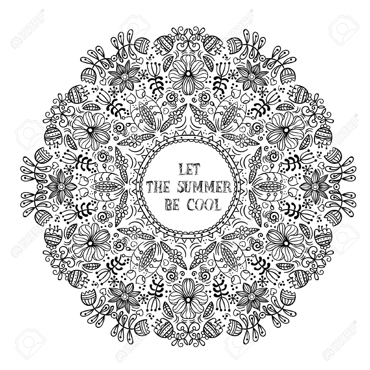 Vector Illustration Of A Linear Black And White Flower Arrangement