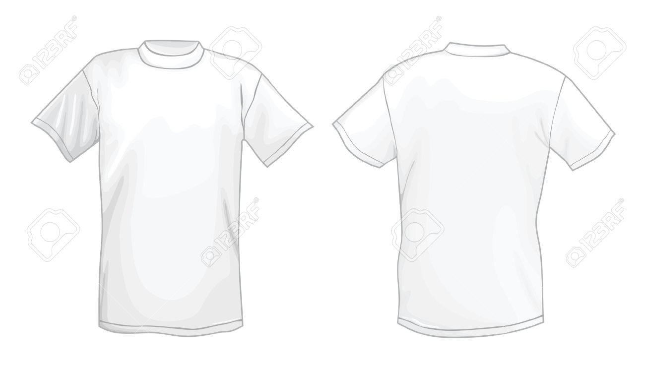 White Vector T-shirt Design Template (front & Back) Royalty Free ...