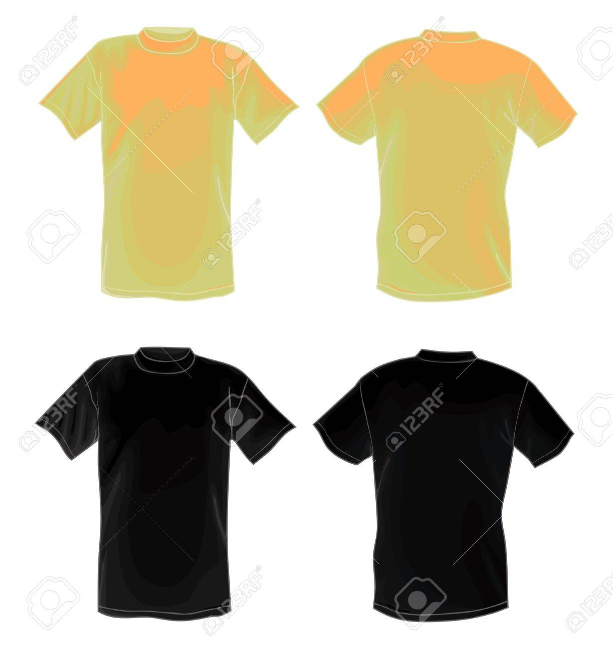 Black t shirt back and front - Yellow And Black Vector T Shirt Design Template Front Back Stock Vector