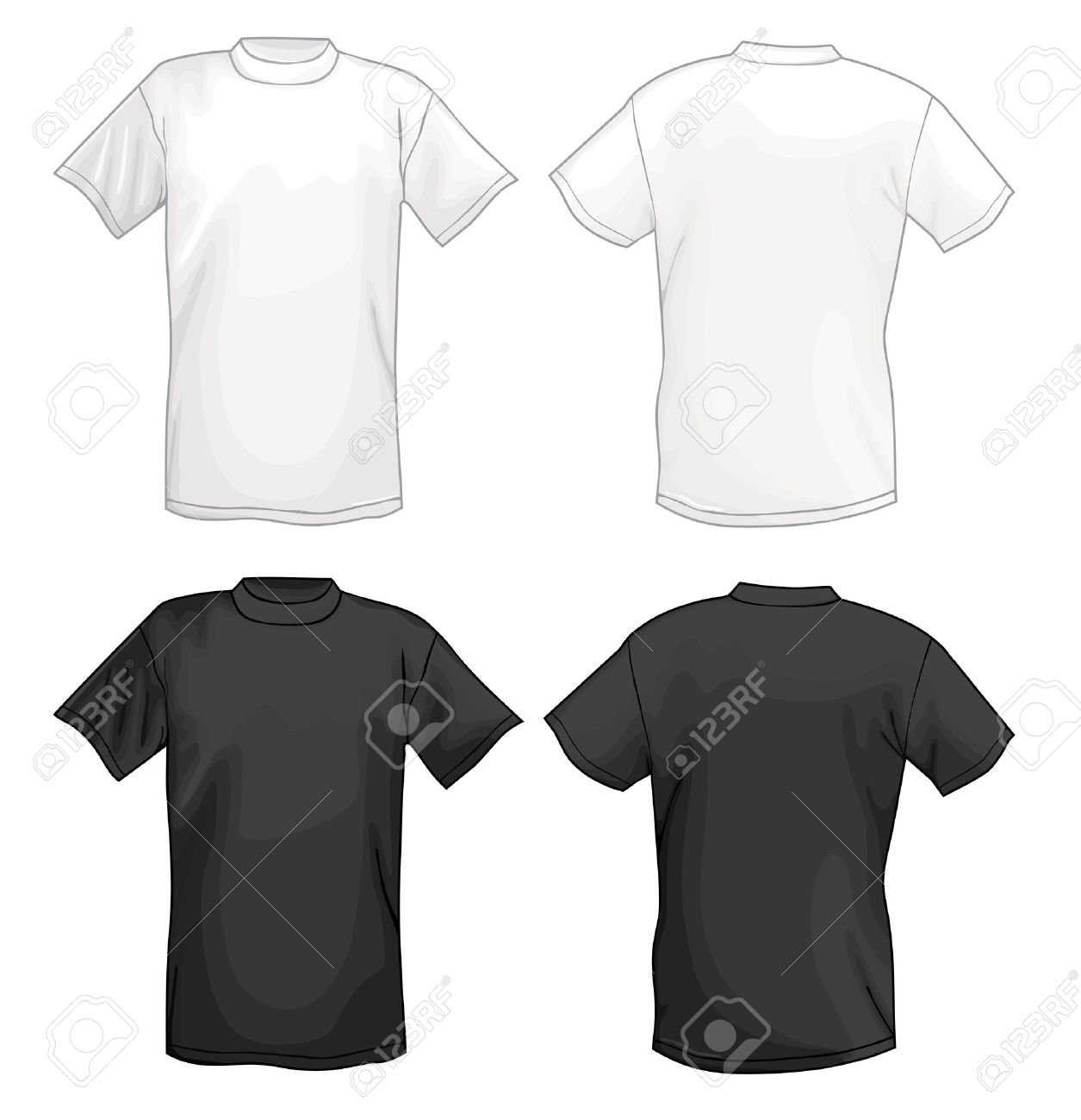 Black t shirt vector template - White Vector T Shirt Design Template Front Back Isolated On Black Background