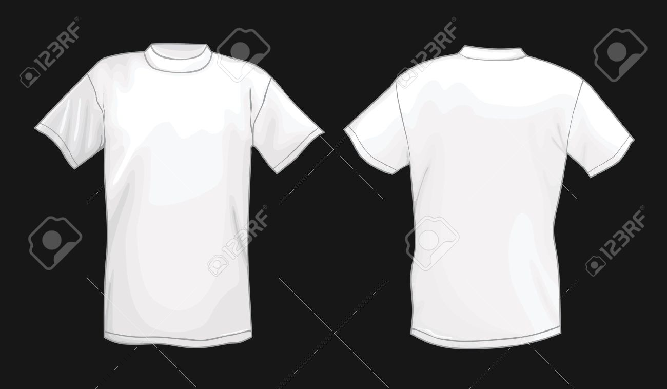 Black t shirt design template - White Vector T Shirt Design Template Front Back Isolated On Black Background