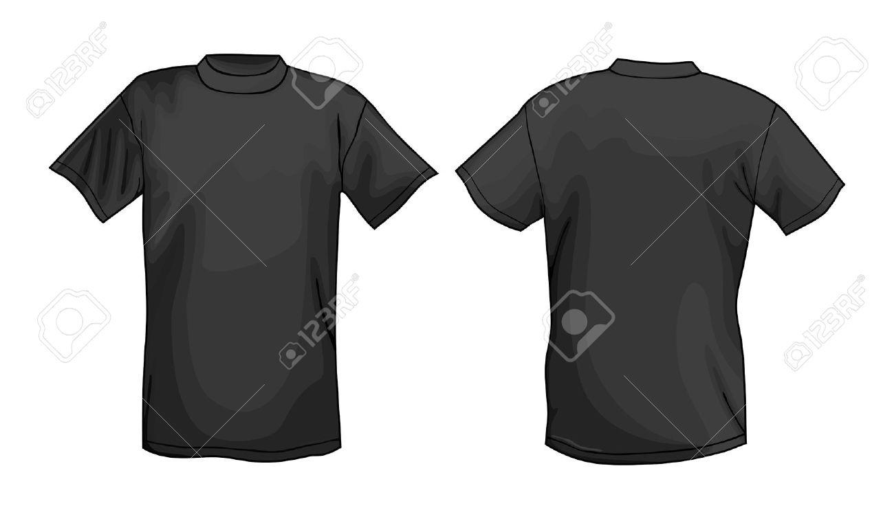 Schwarz-Vektor T-Shirt-Design-Vorlage (Vorder-und Rückseite ...