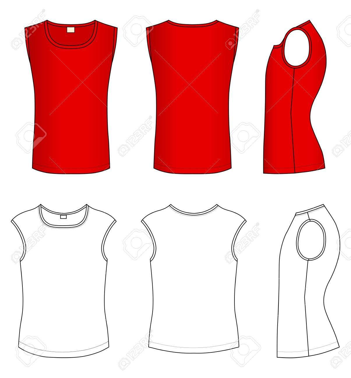 Shirt design red - Outline Red T Shirt Vector Illustration Isolated On White Stock Vector 11357562