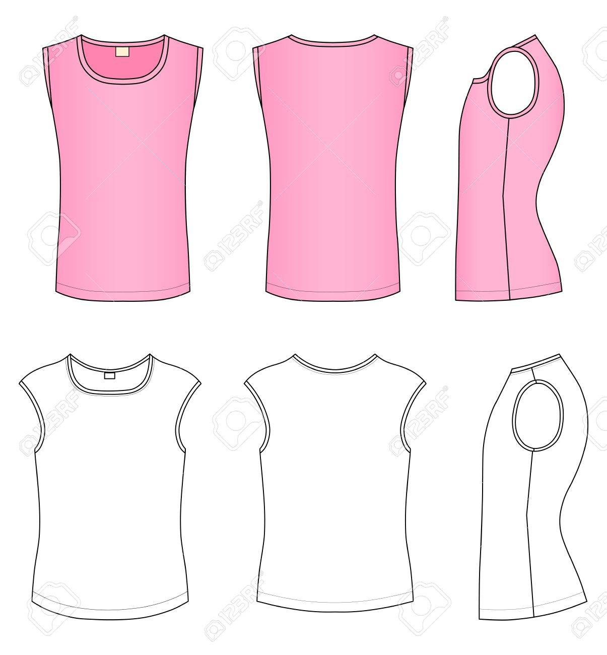 Outline pink t-shirt vector illustration isolated on white Stock Vector - 11357561