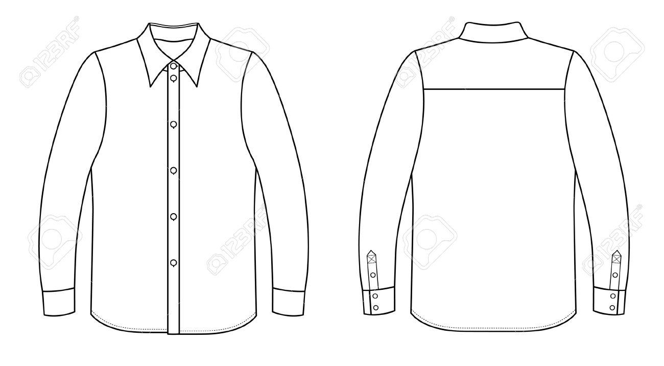 Outline black-white shirt vector illustration isolated on white Stock Vector - 11357493