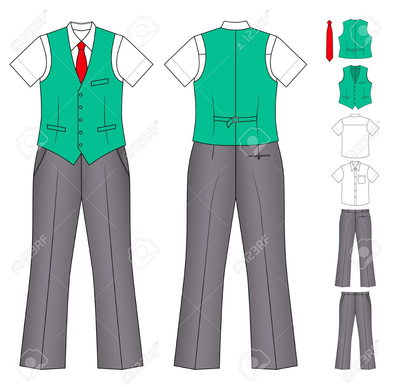 The suit of the cashier or seller (waistcoat, shirt, tie, trousers) isolated on white Stock Vector - 11357364