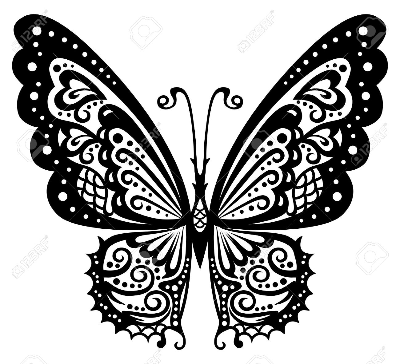 artistic pattern with butterfly suitable for a tattoo royalty