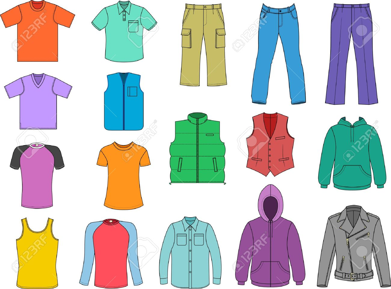 Man clothes colored collection isolalated on white - 11357909