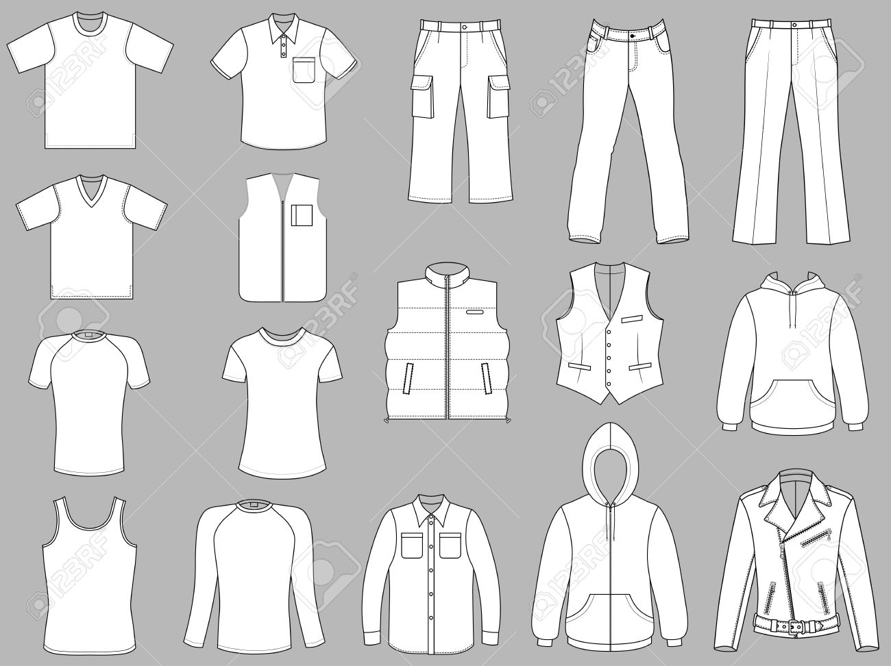 Man clothes collection isolated on grey background Stock Vector - 11357908