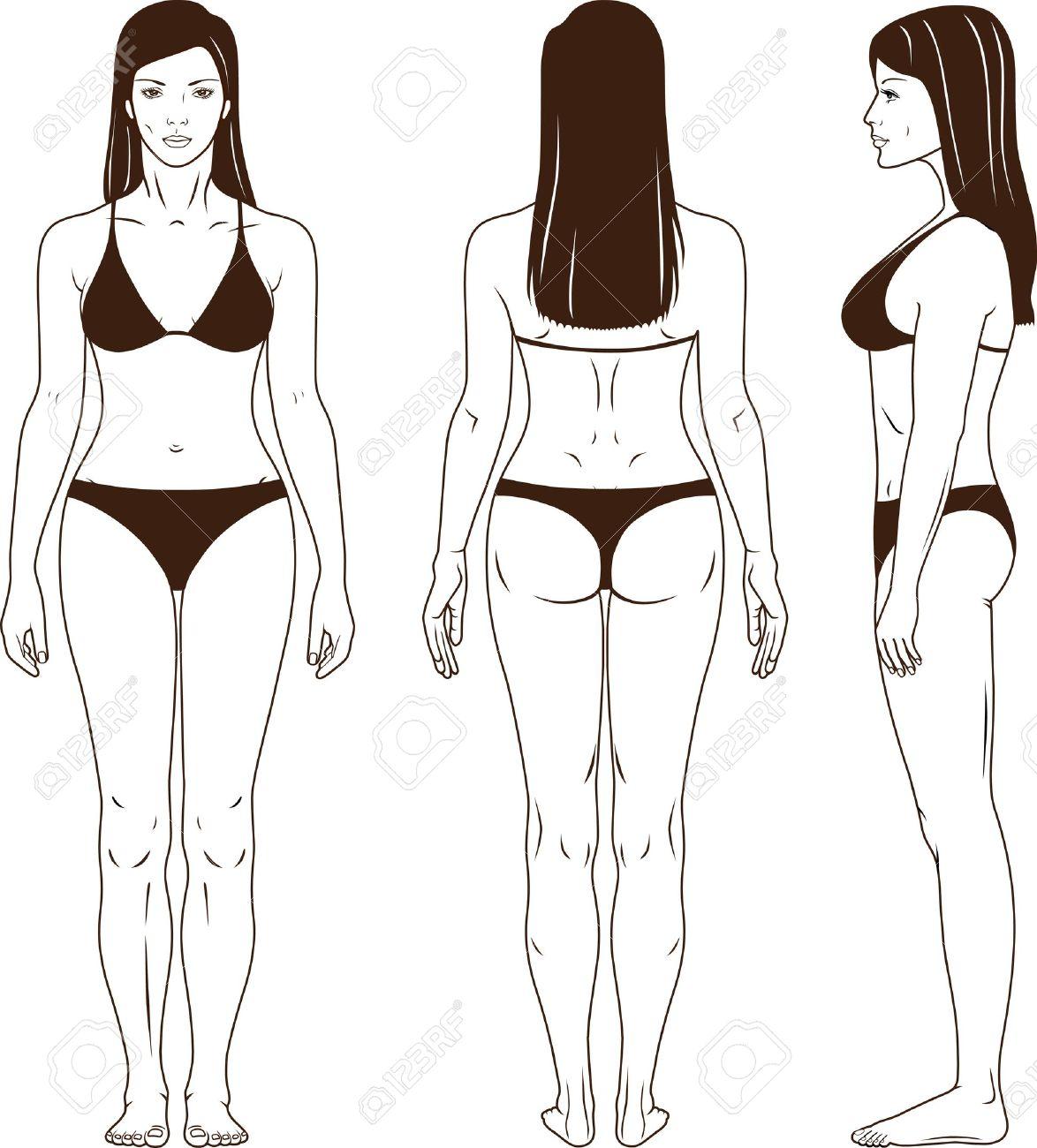Frontal De Cuerpo Entero Espalda Vista Lateral De Una Mujer De Pie