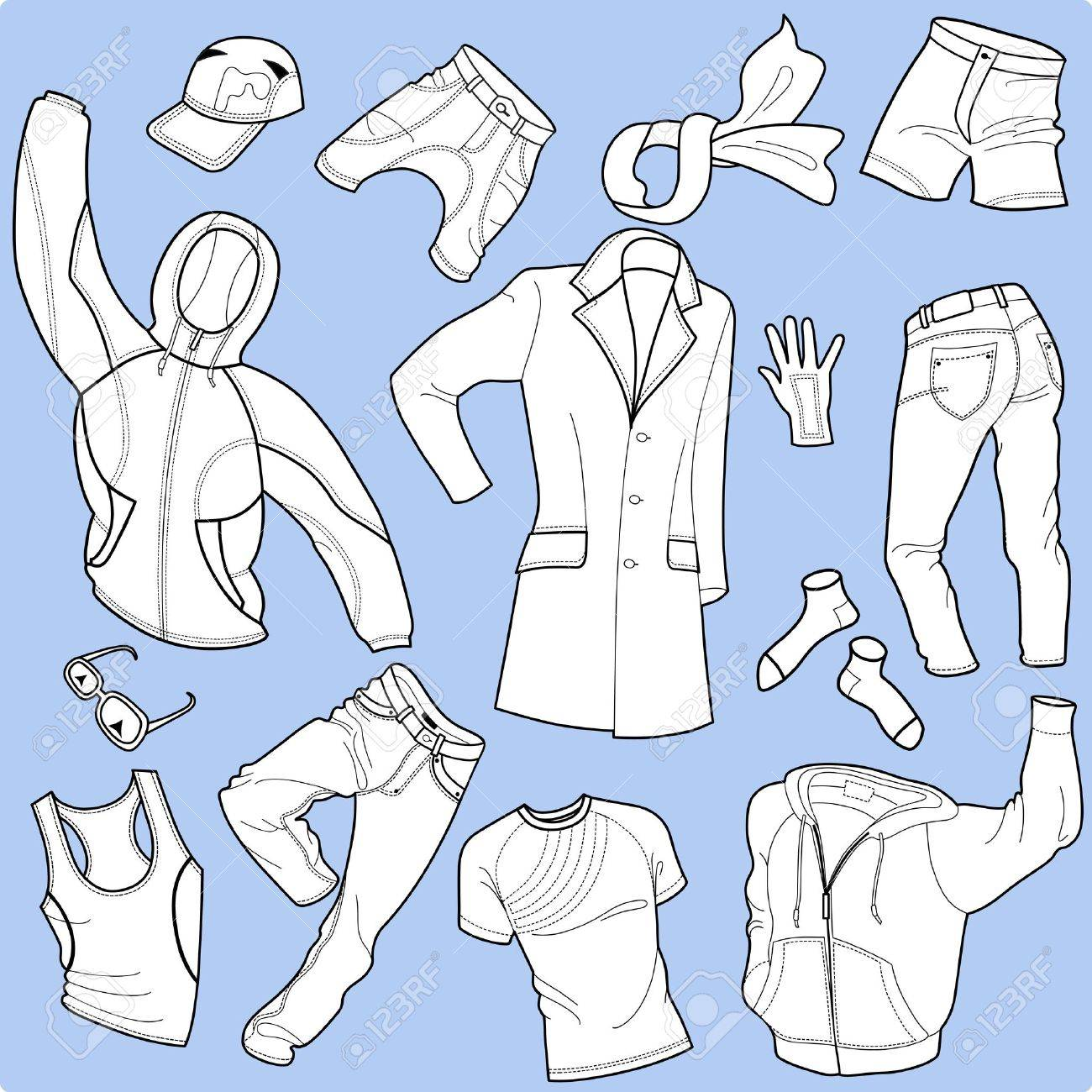 Seamless background man clothes collection isolated on background Stock Vector - 12488563