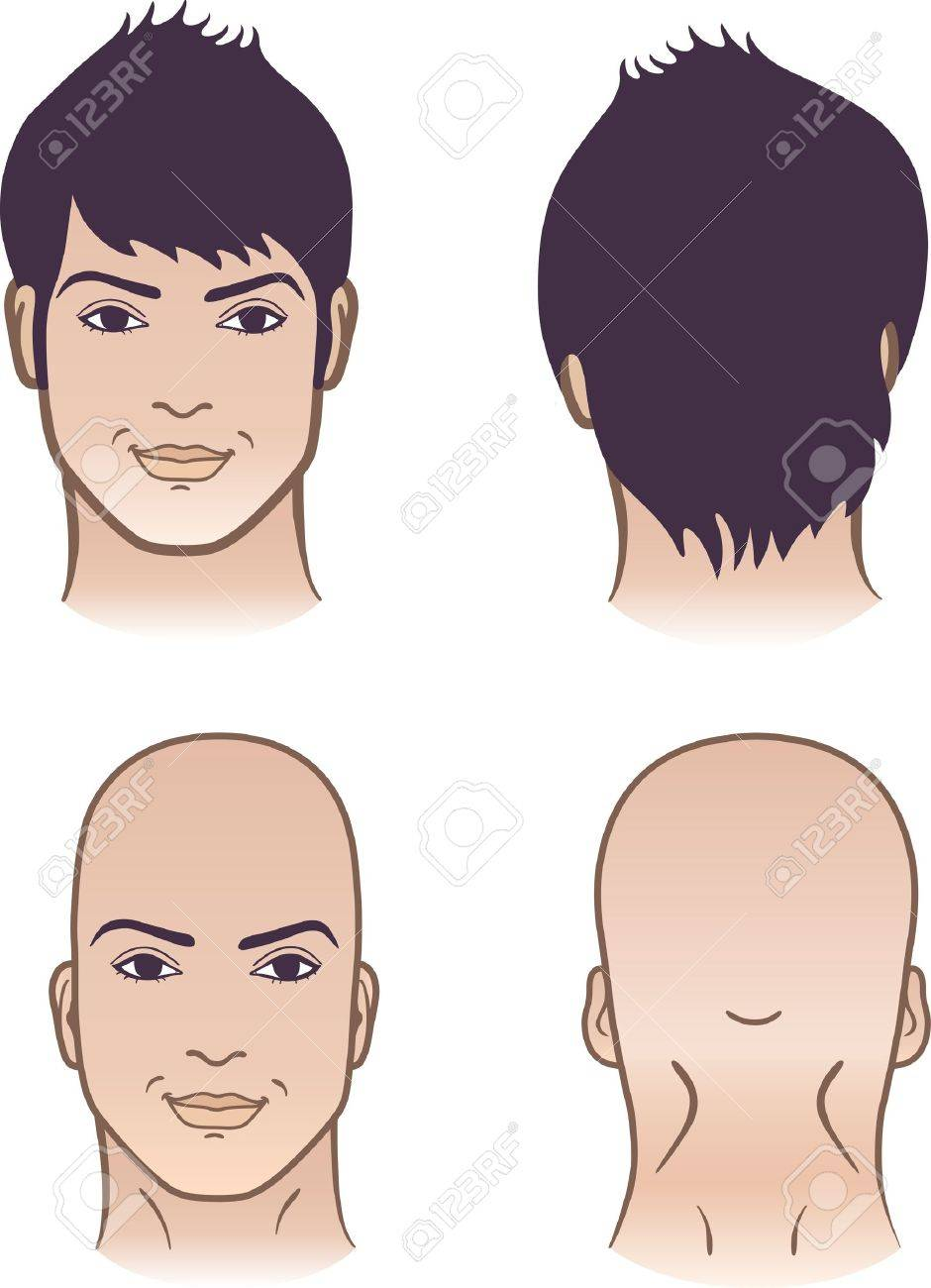 Closeup front, back portrait of a young man smiling on white background Stock Vector - 14306838