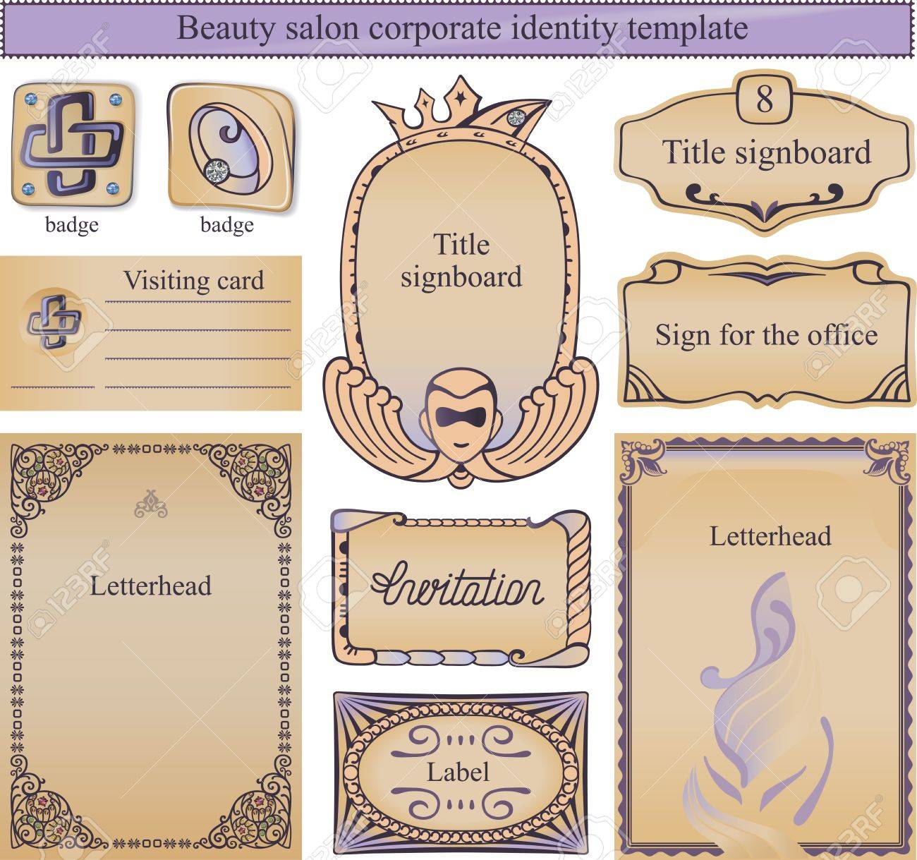 Corporate identity text template for a beauty salon, eclecticism inspired to embellish your layout.Image contains gradients and gradient meshes. Stock Vector - 21970792