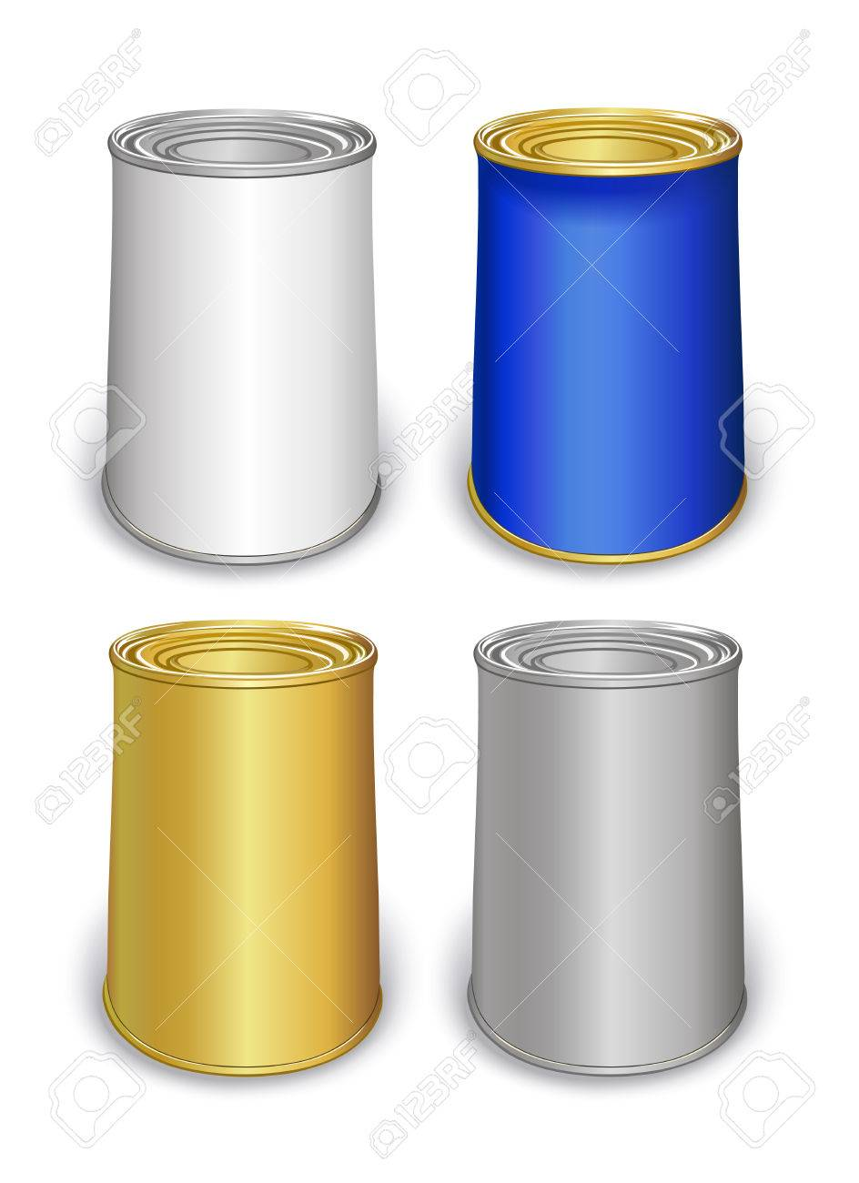 Colored tin can templates isolated on white background created colored tin can templates isolated on white background created in illustrator image contains transparencies maxwellsz