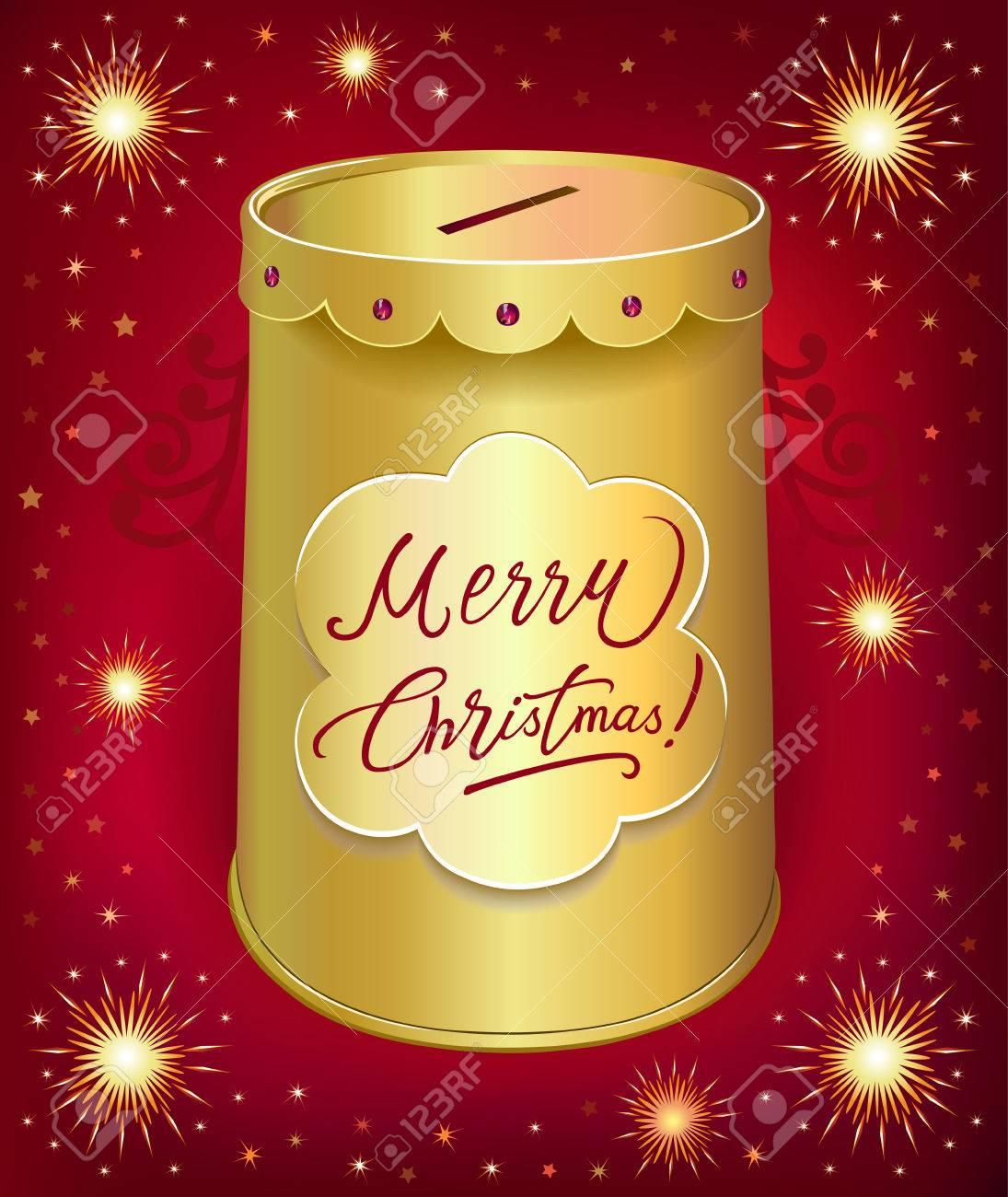 Weihnachten Sparbüchse Blechdose Isoliert Auf Rotem Hintergrund ...
