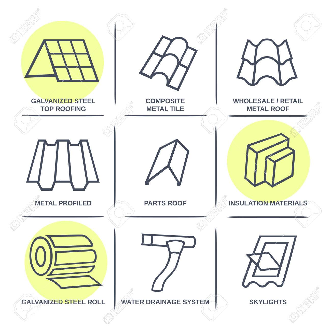 Sale buildings materials (roof, facade) site icons infographics set isolated on white background, vector illustration - 38732724