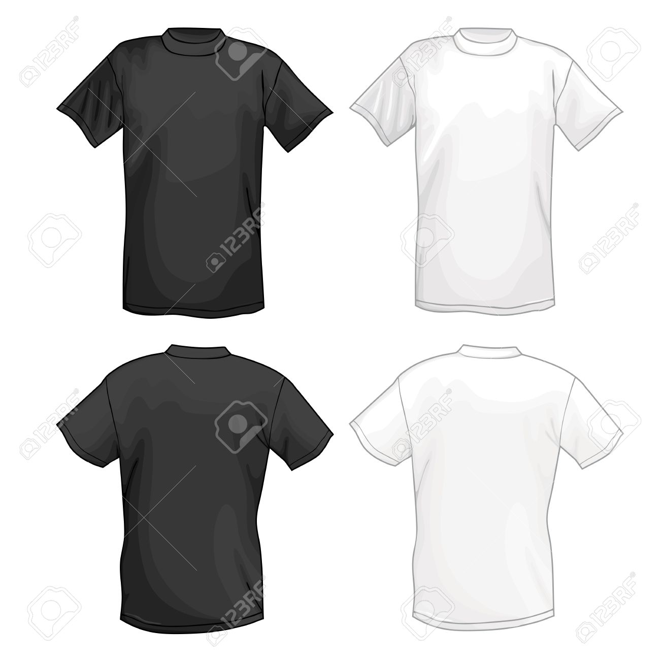 White t shirt front and back template - Vector White And Black Vector T Shirt Design Template Front Back Vector Illustration Isolated On White Background