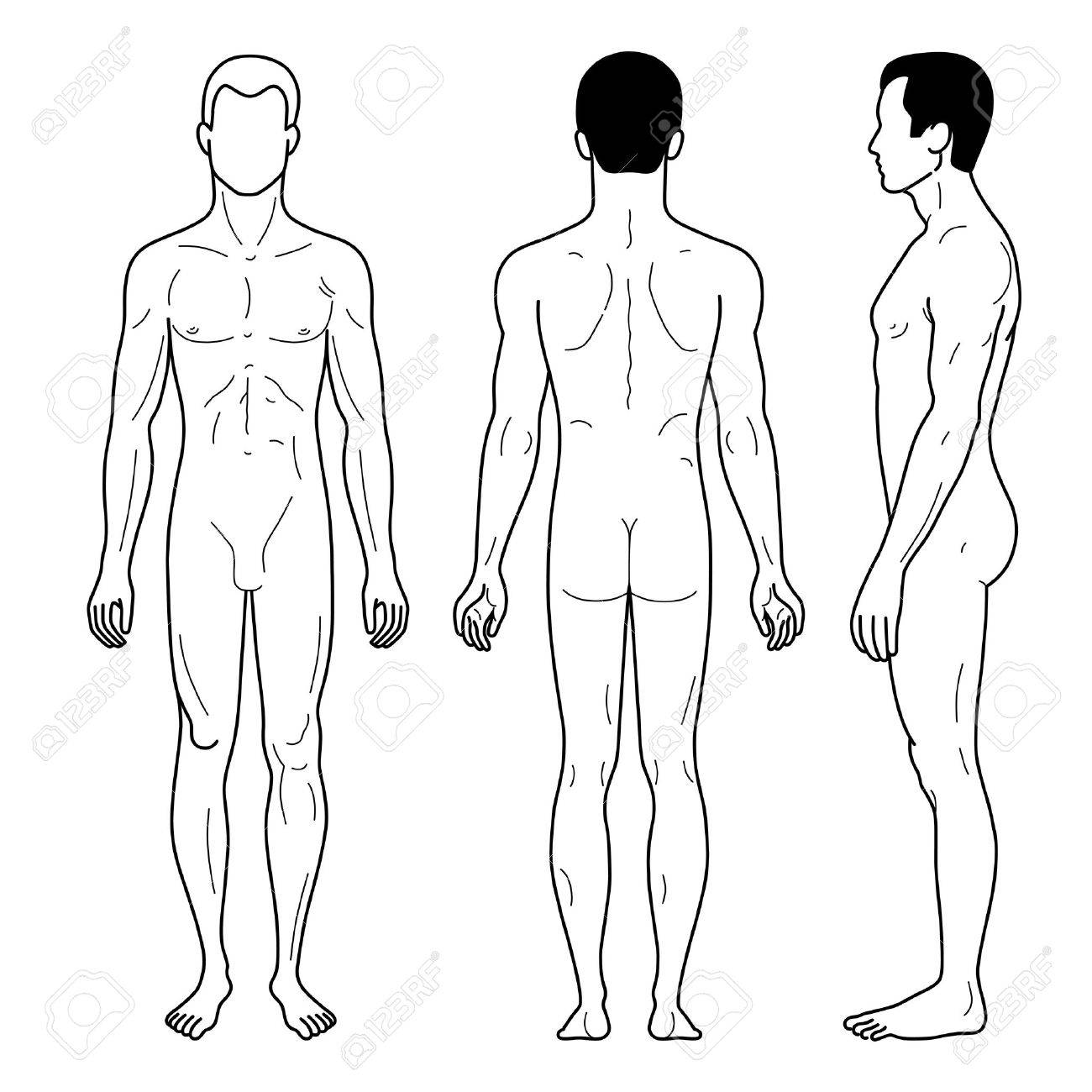 fashion man outlined template full length figure silhouette front